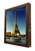 Ключница настенная деревянная 40х50cм с фото под стеклом
