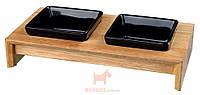 Подставка деревянная + кераммиские миски для собак и кошек, черные Trixie (2 x 0,4 л 36x7x19 см)