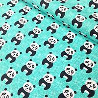 Ткань хлопковая с пандами на мятном фоне №333