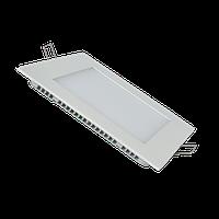 Светодиодный светильник LED, 9W, квадратный, встраиваемый, тонкий, холодного свечения. Гарантия - 2 года.