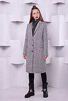 """Утепленное пальто """"Классик №2"""" из твида р.40-46 серый"""