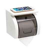 Настенный держатель для туалетной бумаги с полочкой и крышкой белый, фото 1