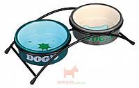 Подставка для собак Eat on Feet с яркими керамическими мисками Trixie (0,3 л 12 см)