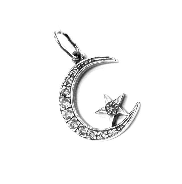 Серебряная подвеска Полумесяц со звездой