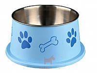 Миска для собак металлическая спаниель на резине с пластиковым покрытием 0,9 л 15 см Trixie