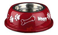 Миска для собак металлическая на резине с пластиковым покрытием яркая Trixie (0,9 л 16 см)