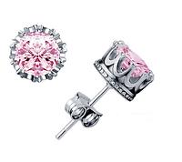 Сережки серьги Корона посеребренные розовые