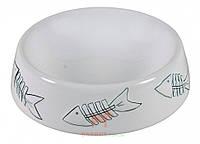 Миска керамическая белая с рыбками для кота 0,2 л 15 см Trixie