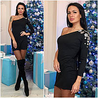 Платье новогоднее с камушками на плече