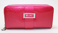 Женский лакированный кошелек на две молнии розовый