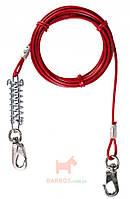 Трос привязочный с амортизатором и карабинами для собак Trixie (15 м на 45 кг)