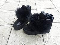 Женские ботинки Пушистики зима в черном цвете натуральная замша и кожи.