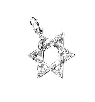 Серебряная подвеска звезда Давида с фианитами