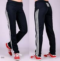 Спортивные женские трикотажные брюки Три лампаса (черные)