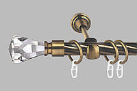 Карниз для штор однорядный металлический 19 мм, Длина 160 см (комплект)