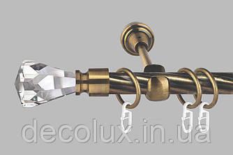 Карниз для штор однорядный металлический 19 мм, Кристалл (комплект)