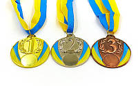 Медали спортивная ( 1 место - золото;металл, d-6,5см, 44g, на ленте)