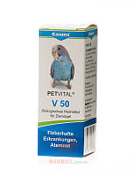 PETVITAL V50 (драже) -10 г при острых воспалениях дыхательных путей у птиц Canina