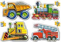 Пазлы Грузовой транспорт, 4хPuzzle (4, 5, 6 ,7), Castorland В-04133
