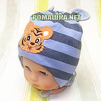 Детская трикотажная шапочка р. 46 на завязках двойная отлично тянется ТМ Аника 3277 Серый