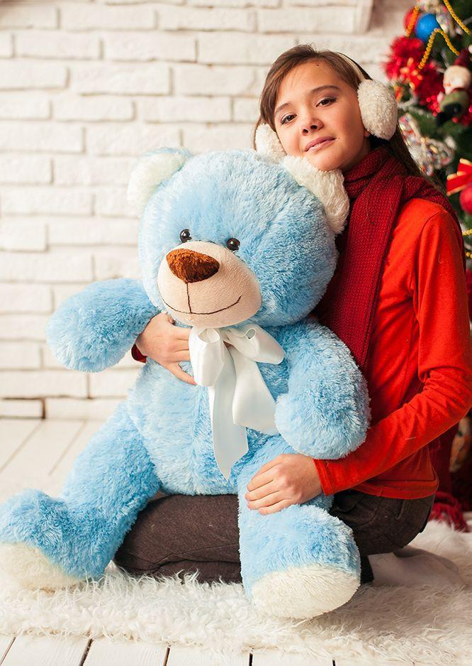 Красивая мягкая игрушка 1 м, Мишка Любимчик голубого цвета