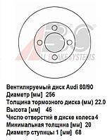 Передний тормозной диск Audi 80 (Ауди). Новые вентилируемые диски.