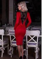 Женское платье, гипюровая вставка на спинке, длинный рукав красный