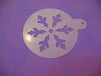Трафарет для торта, капкейков, кофе Снежинка 9