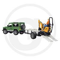 02593 Bruder джип Land Rover Defender c прицепом и экскаватором