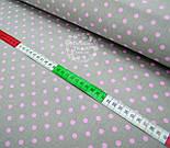 Ткань с розовым горошком 6 мм на сером фоне № 488, фото 2