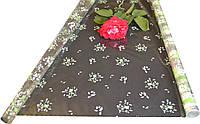 "Пленка для цветов ""Луг с розой зеленый"" 0,7 кг*700мм"