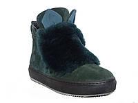 Замшевые зимние женские ботинки с ушками (зеленые)