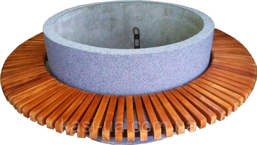 Лавка садово-парковая круглая с бетонным основанием №8
