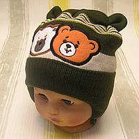 Детская весенняя осенняя вязаная шапочка р. 46-48 на завязках отлично тянется ТМ Аника 3279 Зеленый