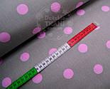Ткань с розовыми горохами 23 мм на сером фоне № 489, фото 2