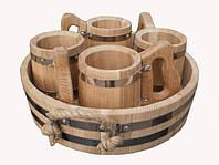 Набор бондарных пивных кружек 3 шт. с подносом