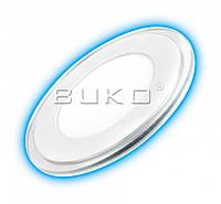 LED Светильник встраиваемый стекло BUKO 9W круг 4000K D-130мм H-25мм (синяя подсветка)