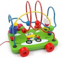 Пальчиковый лабиринт каталка - деревянная логическая игрушка серпантинка