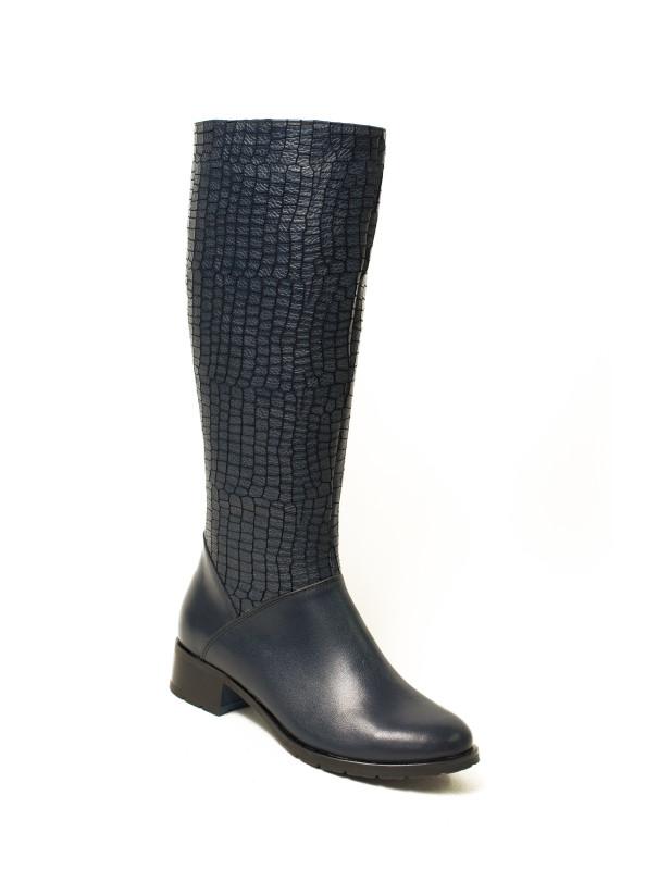 Чёрные женские сапоги еврозима ROSS из натуральной кожи.