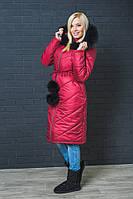 Пальто зимнее с капюшоном бордо, фото 1
