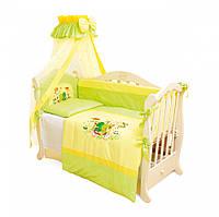 Детский постельный комплект Twins Evolution A-014 Лягушата 7 предметов, зеленый
