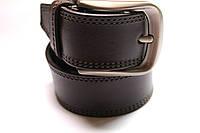 Ремень кожаный шитый темно-коричневый 40 мм №3