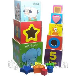 Логические кубики пирамидка сортер считалочка - деревянная игрушка