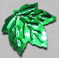 Листик клёна (пайетка) зелёный 23*21 мм для бисерных, проволочных деревьев, уп.10 г (ок.100 шт.), фото 1