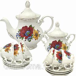 Набор чайный 14пр. Полевой мак (чашка-200мл;чайник-700мл; сахарн.-500мл;блюдце-14.5см)