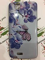 Чехол для Fly IQ4503 Era Life 6 (Бабочка и орхидеи)