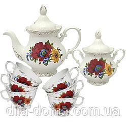 Набор чайный 8пр. Полевой мак (чашка-200мл,чайник-700мл, сахарница-500мл)