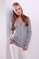 44-50 размер, Серый женский осенний Свитер-88130  вязаный весенний теплый демисезонный кофта красивая