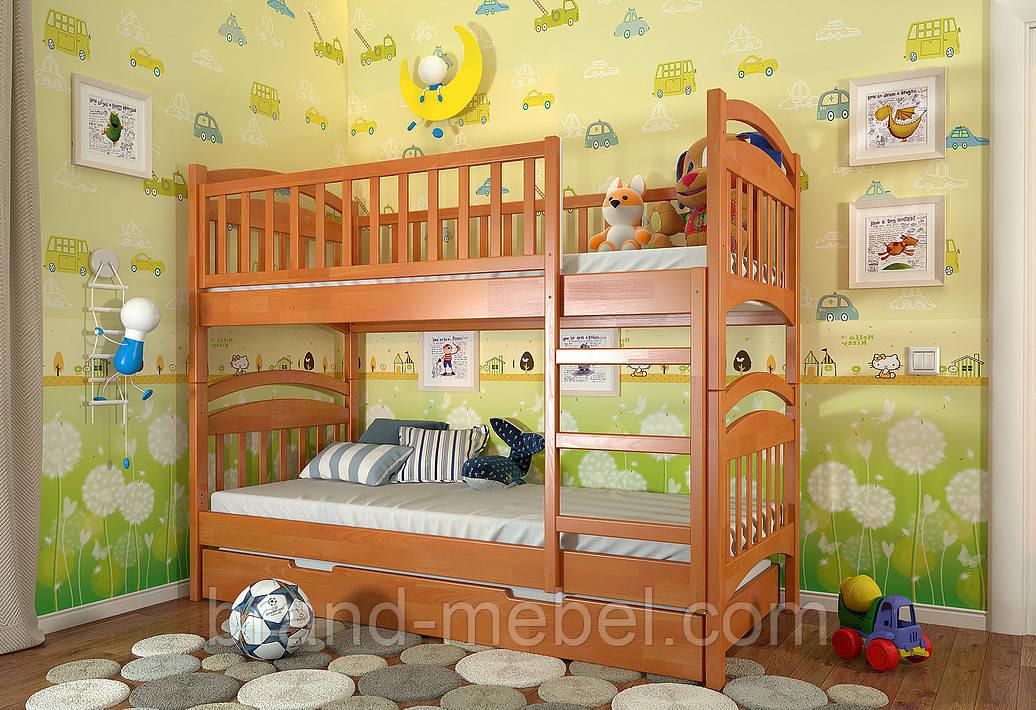 Дитяче двоярусне дерев'яне ліжко Смайл / Детская двухъярусная деревянная кровать Смайл