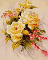 Раскраска по цифрам Турбо Желтые розы (VP589) 40 х 50 см
